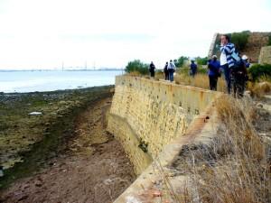 Algunos participantes miran al horizonte desde la muralla