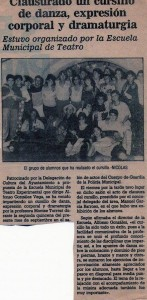 Recorte de prensa sobre aquel primer taller municipal.