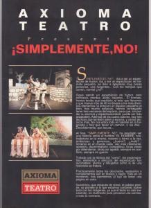 Guía publicitaria de la obra que Cruz representaría con Axioma.
