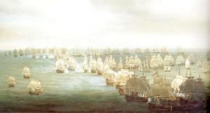 Pintura de Nicolas Pocock, al poco de iniciarse el combate.