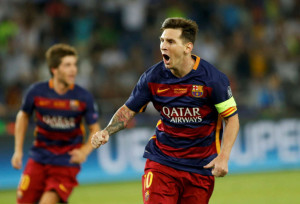 Messi celebra uno de sus goles con el Barcelona.