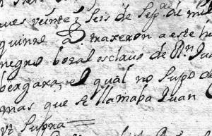 Ingreso de un esclavo negro 'bozal'. AHSCCa, libro nº 26 (1711-1717) de ingresos de enfermos, p. 155.