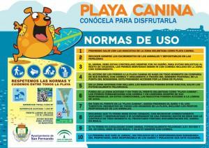 Normas de uso de la playa canina.
